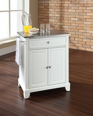 Newport Stainless Steel Top Portable Kitchen Island in White - CROSLEY-KF30022CWH
