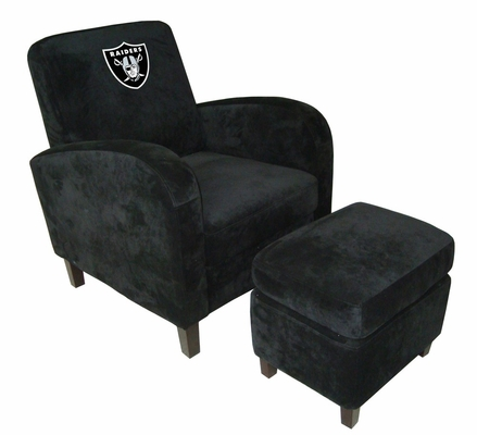 NFL Oakland Raiders Den Chair with Ottoman - Imperial International - 126623