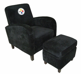 NFL Pittsburgh Steelers Den Chair with Ottoman - Imperial International - 126629