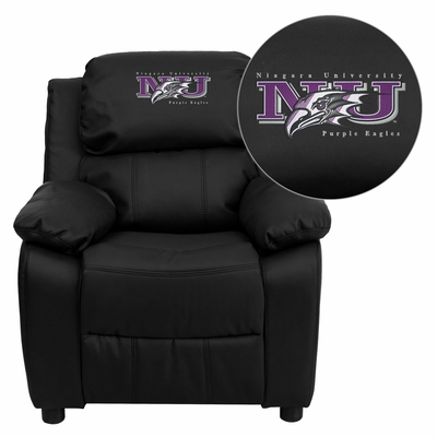 Niagara University Purple Eagles Black Leather Kids Recliner - BT-7985-KID-BK-LEA-41056-EMB-GG
