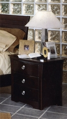 Night Stand - 3-Drawer Nightstand in Mocha Finish with Solid Wood and Wood Veneers
