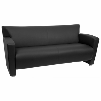 Nobel Series Black Eco Leather Reception Sofa - UE-LS-907-3-NOBEL-BK-GG
