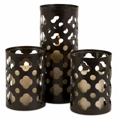 Norte Cutwork Candle Holders (Set of 3) - IMAX - 56337-3