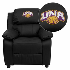 North Alabama Lions Embroidered Black Leather Kids Recliner - BT-7985-KID-BK-LEA-41090-EMB-GG
