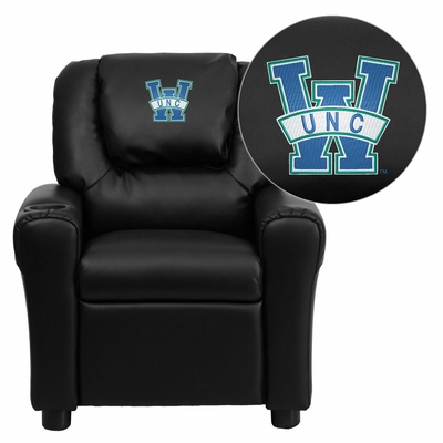 North Carolina - Wilmington Seahawks Embroidered Black Vinyl Kids Recliner - DG-ULT-KID-BK-45024-EMB-GG
