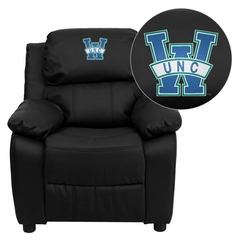 North Carolina - Wilmington Seahawks Embroidered Leather Kids Recliner - BT-7985-KID-BK-LEA-45024-EMB-GG