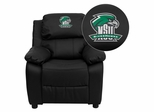Northeastern State University Riverhawks Black Leather Kids Recliner - BT-7985-KID-BK-LEA-41057-EMB-GG