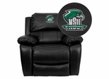Northeastern State University Riverhawks Black Leather Recliner - MEN-DA3439-91-BK-41057-EMB-GG