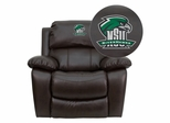 Northeastern State University Riverhawks Brown Leather Recliner - MEN-DA3439-91-BRN-41057-EMB-GG