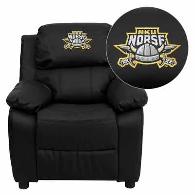 Northern Kentucky University Norses Embroidered Black Leather Kids Recliner - BT-7985-KID-BK-LEA-41058-EMB-GG
