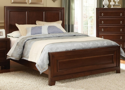 Nortin Dark Cherry Panel Wood Bed - 202191Q