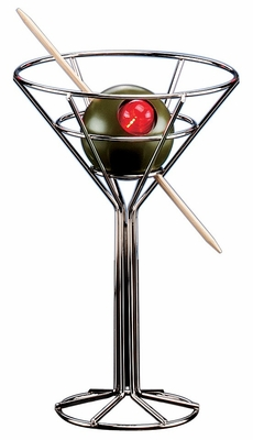 Novelty Lamp - Mini Martini Lamp in Chrome / Plastic Green Olive - LumiSource - DK0181SM