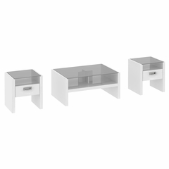 NY Skyline 3 Piece Occasional Table Set in Plumeria White - Kathy Ireland