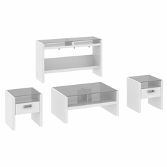 NY Skyline 4 Piece Occasional Table Set in Plumeria White - Kathy Ireland