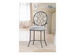 O'Malley Gray Metallic Vanity Stool - Hillsdale