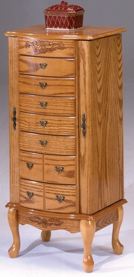 Oak 7 Drawer Jewelry Armoire - Bernards