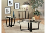 Occasional Table Set in Black Metal / Glass Top - Coaster