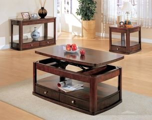 Occasional Table Set in Cherry / Brown - Coaster