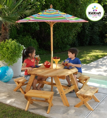 Octagon Table and 4 Stools and Multi Striped Umbrella - KidKraft Furniture - 00042