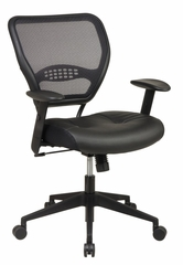 Office Chair - Air Grid Back Deluxe Task Chair with Leather Seat - Office Star - 5700