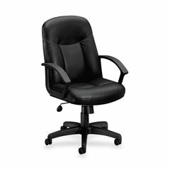 Office Chair Mid Back - Black Leather - BSXVL601ST11T