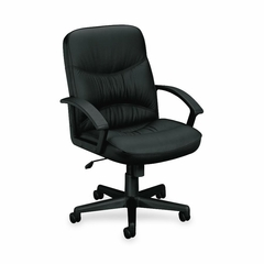 Office Chair Mid Back - Black Leather - BSXVL642ST11