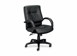 Office Chair Mid Back - Black Leather - BSXVL692SP11