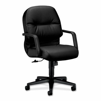 Office Chair Mid Back - Black Leather - HON2092SR11T