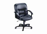 Office Chair Mid Back - Black Leather - LLR60115