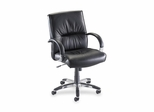 Office Chair Mid Back - Black Leather - LLR60503
