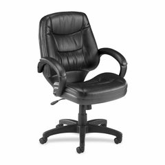 Office Chair Mid Back - Black Leather - LLR63287