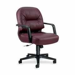 Office Chair Mid Back - Burgundy Leather - HON2092SR69T