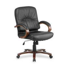 Office Chair Mid Back - Cherry/Black Leather - LLR60336