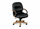 Office Chair Mid Back - Harvest Cherry/Black Leather - HON2192CSR11