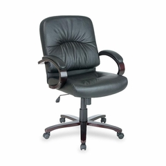 Office Chair Mid Back - Mahogany/Black Leather - LLR60339