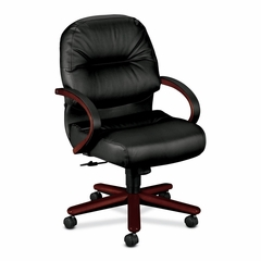 Office Chair Mid Back - MY/Black Lthr - HON2192NSR11
