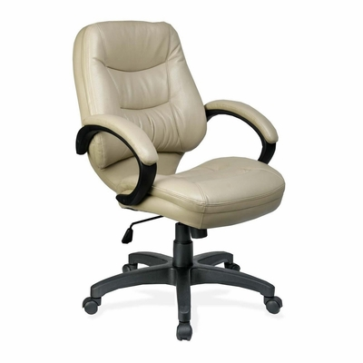 Office Chair Mid Back - Tan Leather - LLR63285