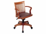 Office Chair - Office Star - 108FW-1 - Deluxe Wood Bankers Chair in Fruit Wood/Brown Finish with Vinyl Padded Seat