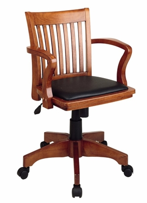 Office Chair - Office Star - 108FW-3 - Deluxe Wood Bankers Chair in Fruit Wood Finish with Black Vinyl Padded Seat