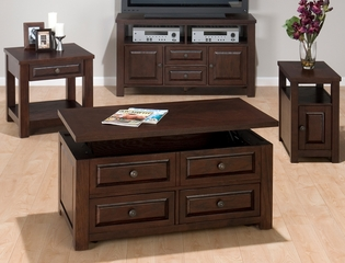 Ogden Oak 4PC Livingroom Table Set with TV Stand - 484-5