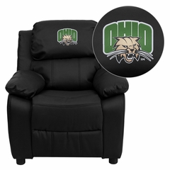 Ohio University Bobcats Black Leather Kids Recliner - BT-7985-KID-BK-LEA-45018-EMB-GG