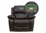 Ohio University Bobcats Brown Leather Recliner - MEN-DA3439-91-BRN-45018-EMB-GG