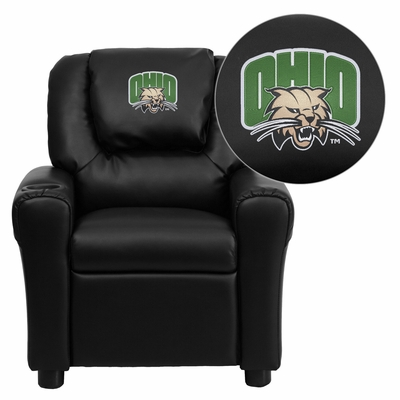 Ohio University Bobcats Embroidered Black Vinyl Kids Recliner - DG-ULT-KID-BK-45018-EMB-GG
