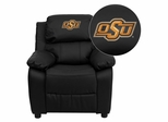 Oklahoma State University Cowboys & Cowgirls Leather Kids Recliner - BT-7985-KID-BK-LEA-40028-EMB-GG