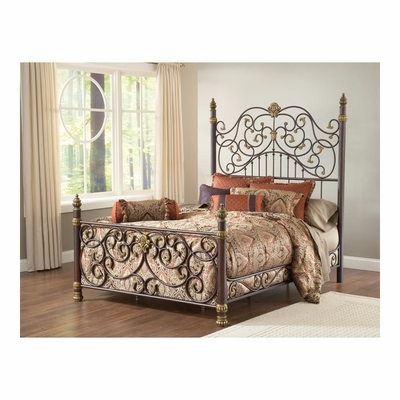 Old Brown Highlight Stanton Bed with Matching Side Rail - Hillsdale