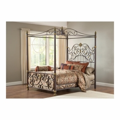 Old Brown Highlight Stanton Canopy Bed Set with Matching Side Rail - Hillsdale