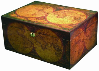 Old World Cigar Humidor - Distressed Finish - HUM-OLD-WORLD