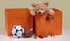 Orange 2PC Folding Storage Bins Set with Open Handles