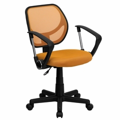 Orange Mesh Computer Chair with Arms - WA-3074-OR-A-GG