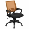 Orange Mesh Office Chair with Black Leather Seat - CP-B176A01-ORANGE-GG